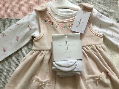 Jasper Conran Girls Set - Girls Junior Dress And Tights Set - 0 - 3 Months New