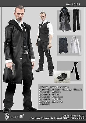 """CC163 1/6 Scale Clothing- Male Black Leather Men Suit Full set for 12"""" Figure"""