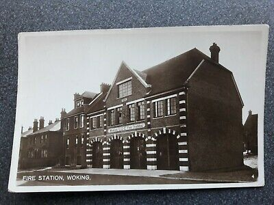 Lovely woking fire station postcard. Postally used real photographic