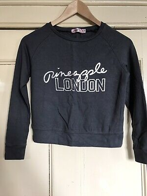 Girls Grey Pineapple Short Sweatshirt Age 9-10
