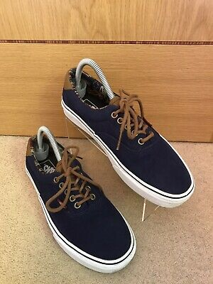 VANS Off The Wall TB4R Navy & White Canvas Lace Up Skater Shoes Trainers Size 7