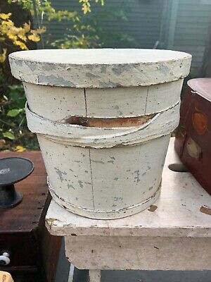 Antique Primitive painted wooden carved bucket (1800's)