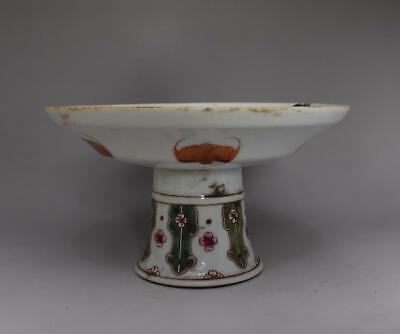 Antique Old Fine Chinese Famille Rose Porcelain High Dish