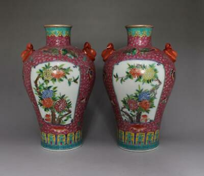 19th Old Pair Chinese Famille Rose Porcelain Mum Vases Qianlong Marked