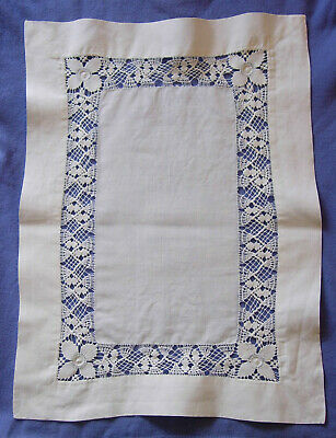 Vintage white linen tray cloth with hand crocheted inset 16 x 21.5""