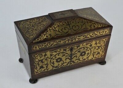 Regency Rosewood Boulle Work Tea Caddy Brass Inlaid Inlay Excellent Condition