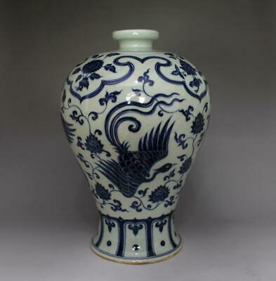 18th Old Chinese Blue And White Porcelain Phoenix Vase Xuande Mark 31cm