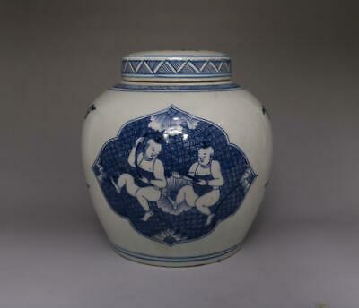 19Th Antique Old Chinese Blue And White Porcelain Pot With Lid