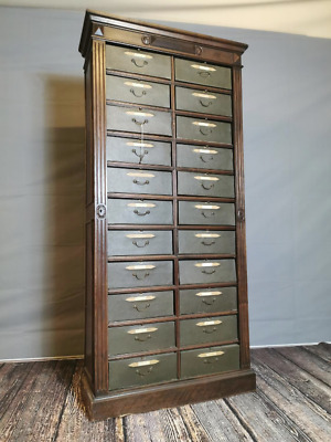 AMAZING TALL! 19th. C. mahogany haberdashery chest with twenty two drawers.
