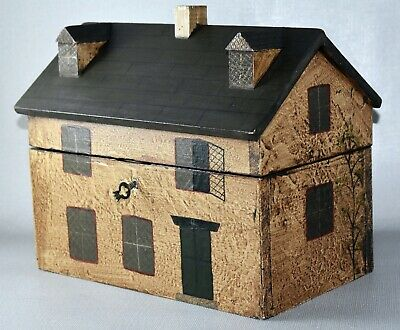 Vintage Cottage House Tea Caddy Box