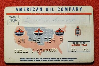 American Oil Company National Credit Card expired 1972 ♡Free Shipping♡ cc900
