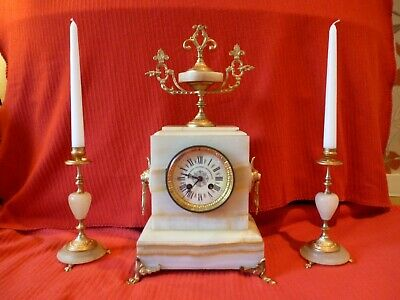 Antique French Marble Clock And Garnitures. Bell Chime. Restored And Serviced.