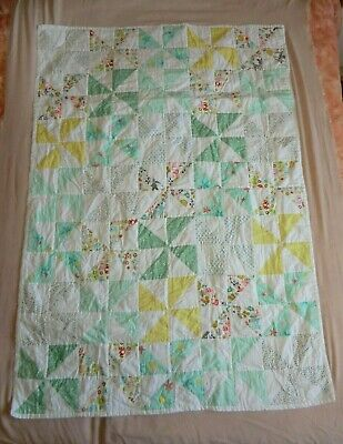 Patchwork Baby Quilt - Possibly Handmade - Blue Owls