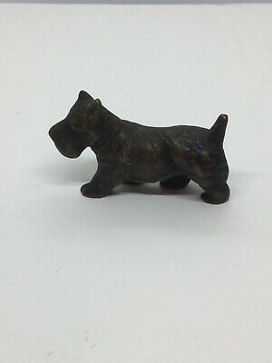 Marked Antique  Cast Iron Scotty Dog Terrier Figure Hubley