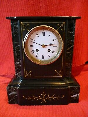 Beautiful 8 Day, 2 Train, Antique French Slate And Marble Mantel Clock.