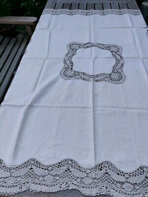 Vintage White Linen And Lace Table Cloth