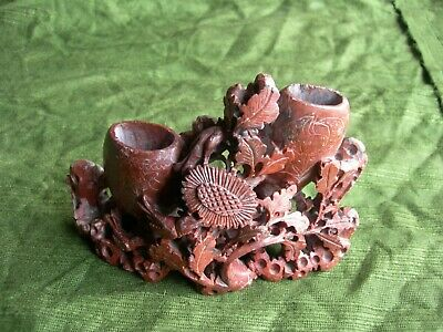 ANTIQUE CHINESE RED SOAP STONE CARVED BRUSH POT ~ Fish Bird Flowers Leaves