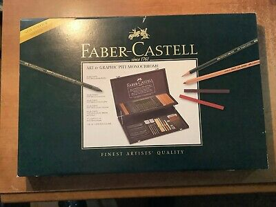 Faber Castell Art & Graphic Pitt Monochrome Wood Case & Contents ! Brand New !