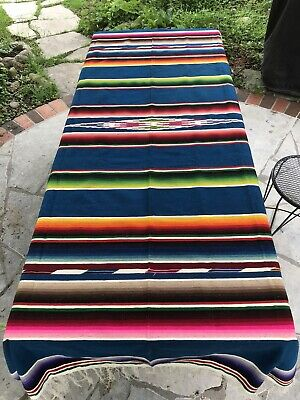 "Vintage Mexico Serape Blanket Saltillo Wool Fringe Vg Condition 88 X 52"" C.1940"