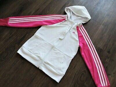 Size 12 Adidas White/Pink Jumper Hoodie Top Workout Gym Girls Ladies Clima365