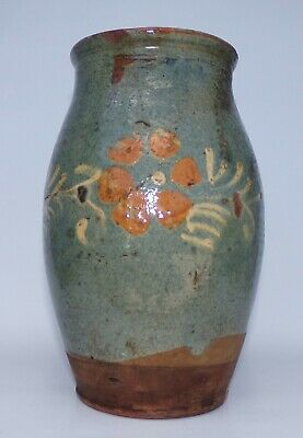 Primitive Led Glazed Hand Painted Flower Redware Pitcher