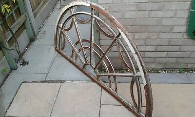 Magnificent antique cast iron fanlight window frame