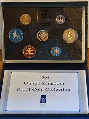 1991 Royal Mint UK Proof 7 Coin Year Set Blue Case + COA + White Outer Box.