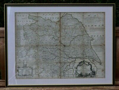 antique framed glazed map Emanuel Bowen An Accurate Map of the County of York