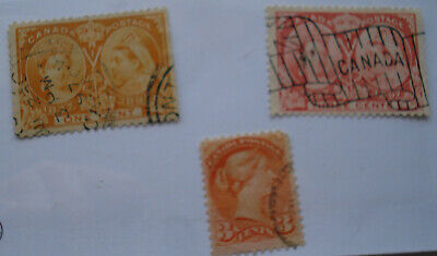 1873-1897 Queen Victoria 3 Stamps Used No Hing No Gum In Good Condition