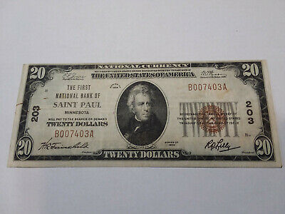 Small-size National bank note, $20, First National Bank St. Paul, Minnesota