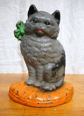 Antique Gray Cat Doorstop Cast Iron Hubley