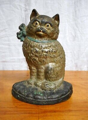 Antique Silver Cat Doorstop Cast Iron Hubley
