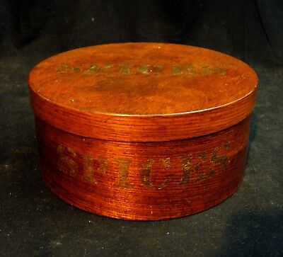 Antique American Spice Box Bentwood Orig. Gold Lettering Clean