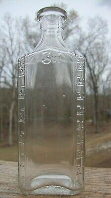 Antique Apothecary Medicine Bottle Square O Owens Glass Clear 3 Vi 6 oz.