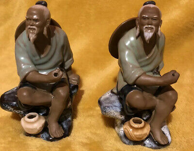 Two Vintage Chinese Mudmen Fishermen Figures