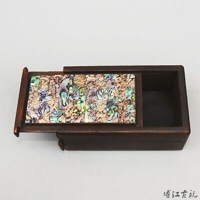 Collect China Old Boxwood Inlay Seashell Hand-Carved Delicate Unique Jewel Box