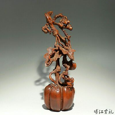 Collectable China Old Boxwood Hand-Carved Pumpkin & Toad Bring Luck Decor Statue