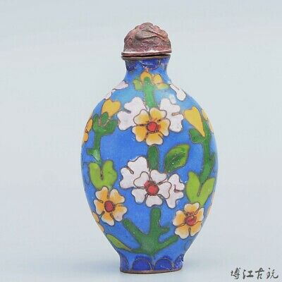 Collectable China Old Cloisonne Hand-Carved Bloomy Flower Delicate Snuff Bottle