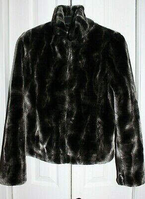 New Mink Faux Fur Coat/Jacket Silver Gray Black Women's Youth Girls Size Small