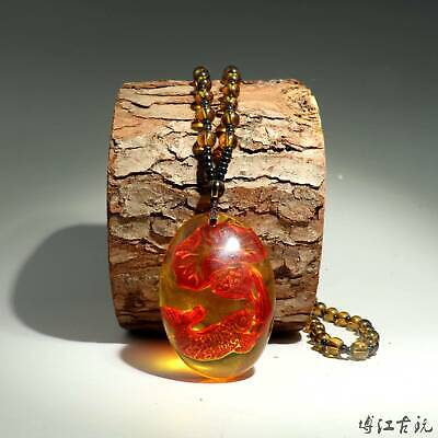 Collectable China Old Amber Hand-Carved Bloomy Lotus & Fish Luck Unique Necklace