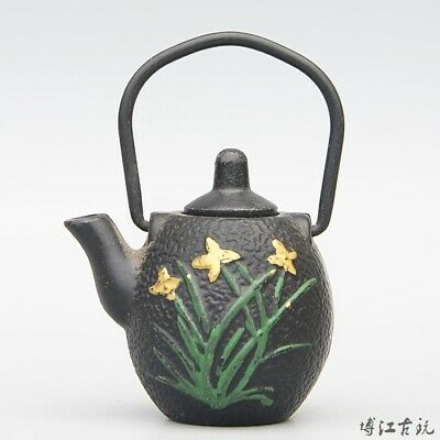 Collect China Old Red Copper Hand-Carved Bloomy Flower Delicate Unique Tea Pot