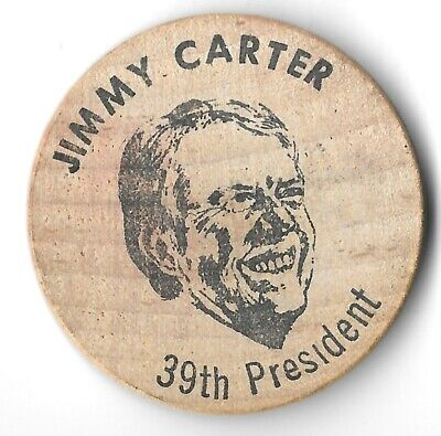 Wooden Nickle Coin President Jimmy Carter The Peanut Gallery