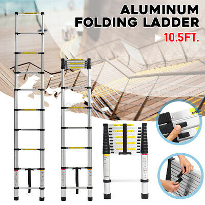 10.5Ft Aluminum Telescopic Ladder Non-Slip Multi-Purpose Extension Work Tool US