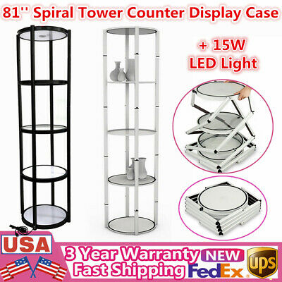 """81"""" Portable Round Spiral Tower Display Case with Shelves Panels + 15W LED Light"""