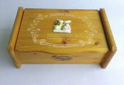 Vintage Sankyo Japan Country Rabbit House Wooden Musical Keepsake Jewelry Box