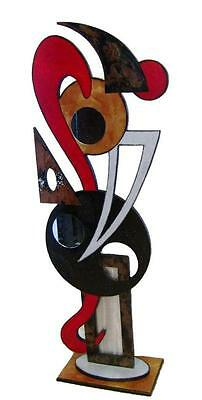 Contemporary Modern Abstract Red Floor Sculpture, Wood Metal home decor by Alisa
