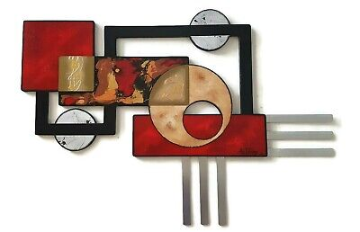 Beautiful Geometric Abstract Wall Sculpture, Wood and Metal Wall Art 38x27