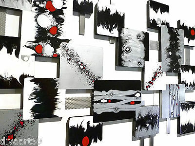 Black White Silver Abstract art,  Modern Square Wall Sculpture, 60x37 Alisa