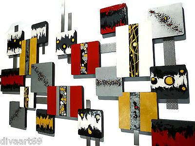 Custom Contemporary Abstract wood and Metal Wall Art, Wall Sculpture, by Alisa