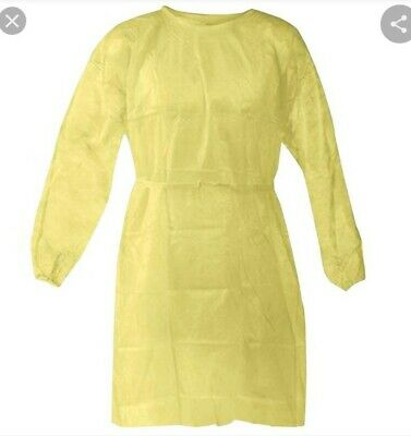 50 Pcs Disposable Isolation Gowns with Elastic Cuffs, Yellow Protective Gowns...
